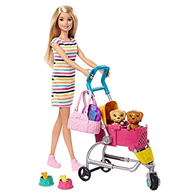 Barbie Stroll 'n Play Pups Playset with Blonde Doll (11.5-inch), 2 Puppies, Pet Stroller and Accessories, Gift for 3 to 7 Year Olds by Mattel