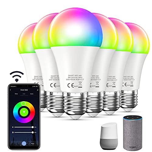 Bewahly Alexa Glühbirne [6er pack], E27 9W Smart WLAN LED Lampe, RGB + CCT Farbwechsel Glühbirne mit App Steuern, Kompatibel mit Alexa und Google Home, Dimmbare Warmweiß bis Kaltweiß Birne, Wifi Bulb