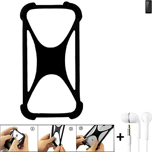 K-S-Trade® Handyhülle Für Ruggear RG850 Schutzhülle Bumper Silikon Schutz Hülle Cover Case Silikoncase Silikonbumper TPU Softcase Smartphone, Schwarz (1x), Headphones