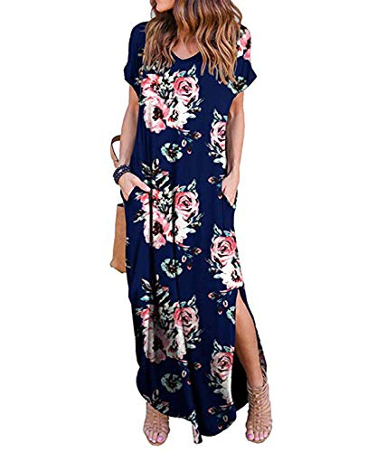 Tudou Damesjurk, elegante V-hals, korte mouwen, split, lange jurk, zomer, boho, maxi-jurk met tas