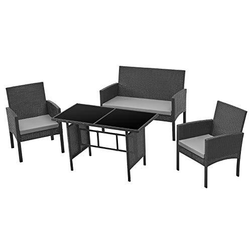 SVITA Brooklyn XL Polyrattan Essgruppe Lounge Garnitur Gartenmöbel Set Esstisch (Schwarz)