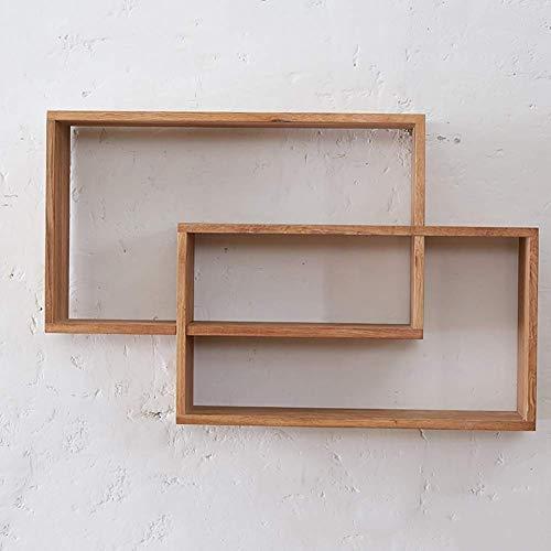 YLCJ Vlotterrek voor wandcombinatie van hout van eiken met dubbele ring, TV-rek met CD-display