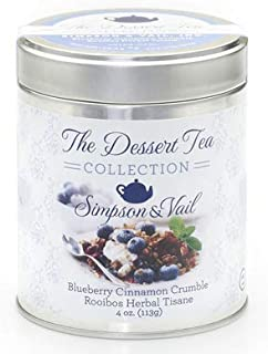 Simpson & Vail, Blueberry Cinnamon Crumble Rooibos Tea, Dessert Collection - 4 Ounce Tin / 50 Cups