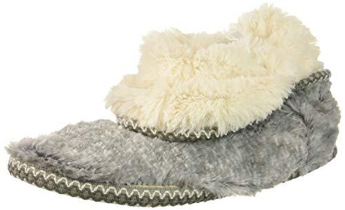 Dearfoams Women's Beth Furry Foldover Boot Slipper, Grey Frost, Large