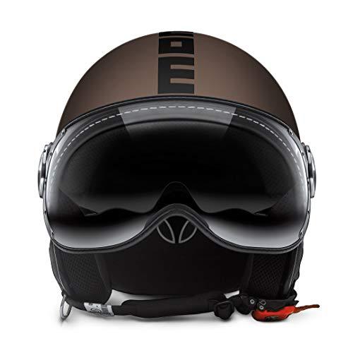MOMO Design Momo-Helm Fighter FGTR Evo Tabak Frost schwarzer Aufdruck Doppel Visier Größe XL, braun