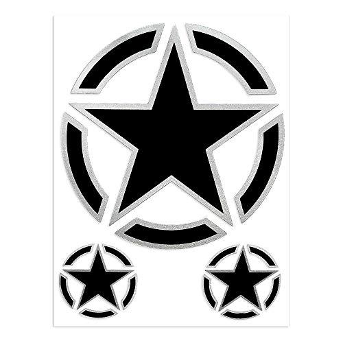 4R Quattroerre.it - 6326 - Adesivi Sticker Stella Militare, 10 x 12 cm