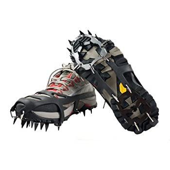Universal Neige Glace Sol antidérapant Crampons Patinage antidérapant Neige Pointes de Chaussures Grips Crampons (Black, L)