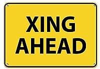 アルミ金属ノベルティ危険サイン、Xing Ahead、錫壁サインおかしい鉄の絵ヴィンテージ金属プラーク装飾レトロアートクラフト吊りアートワークポスターバーコーヒーハウスストアホームヤード