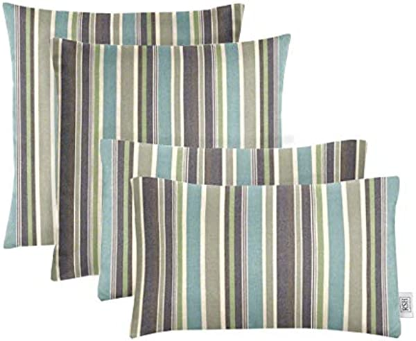 RSH D Cor Set Of 4 Indoor Outdoor Square Rectangle Lumbar Throw Pillows Made Of Sunbrella Brannon Whisper 20 X 12 17 X 17