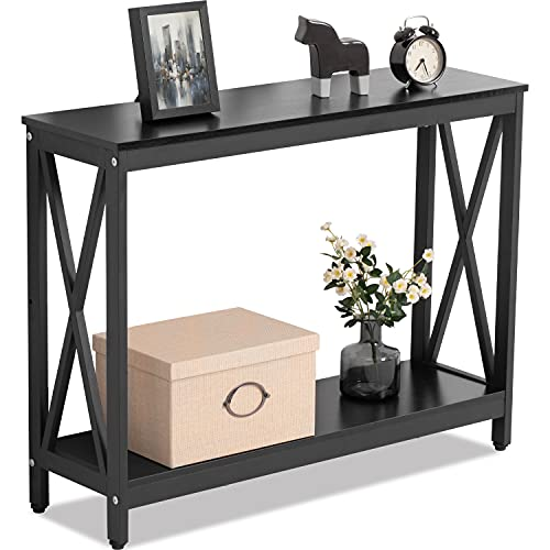 Tunbne 39.5'' Console Tables for Entryway Sofa Table Long Narrow Hallway Table Small Space Console End Table for Living Room 2 Layers (Black)