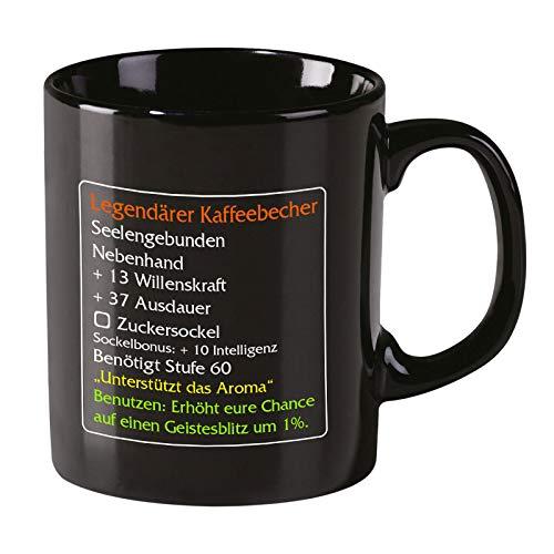 Elbenwald Legendärer Kaffeebecher Tasse Level 60 MMO Item Classic für World of Warcraft Fans 320ml Keramik schwarz