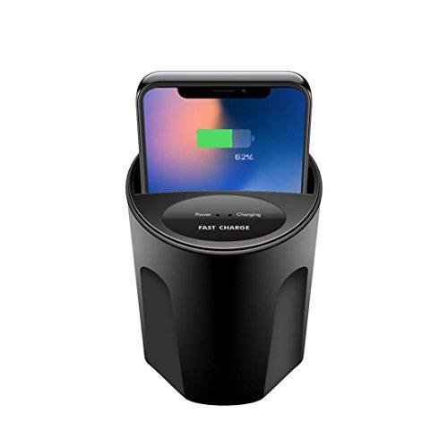 Multifunzione auto caricatore wireless SOLO per IPHONE8, iPhone x, Samsung Galaxy S6S8S7, Mamum 10W X8auto caricatore wireless tazza con uscita USB per Iphonex taglia unica Nero