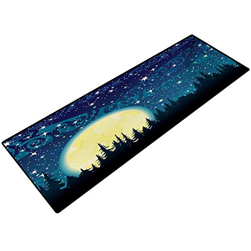 Starry Night Bathroom Carpet Full Moon over the Forest Sky with Stars Dots and Swirls Background Floor Rug Indoor/Front Door Mats Home Decor 22x36 Inch Dark Blue Cream Black