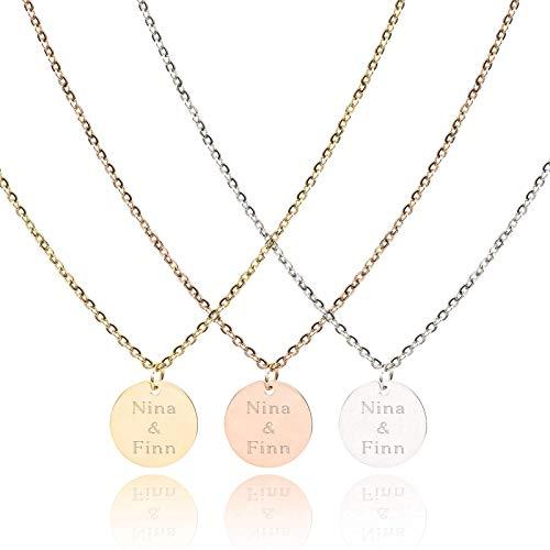 PHOENIX | Kette mit Gravur | 15mm Plättchen Anhänger| Stainless Steel | Farbe Silber Gold Rosegold | Personalisierte Geschenke