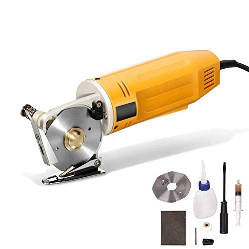 cortadora de tela 70 mm Tijeras eléctricas portátiles Mini cortador cuchilla redonda Máquina de corte Auto Textil (Amarillo)