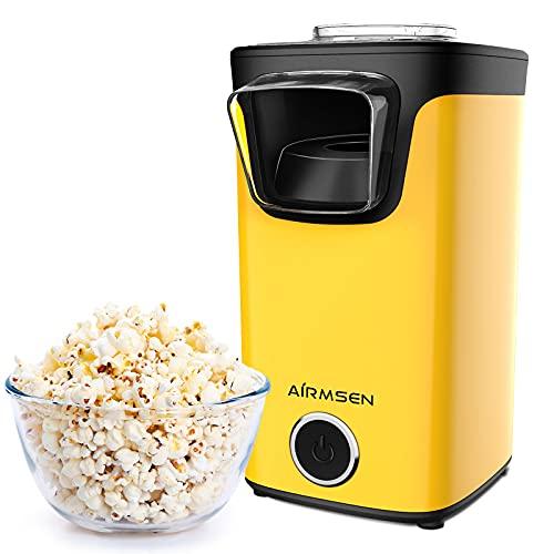 AIRMSEN Popcornmaschine, Heißluft Popcorn Maker Machine für Zuhause mit Messlöffel, ohne Fett & Öl, BPA-Freie, Schnell und Einfach, für Party, Filmabend, Fußballspiel, Gelb