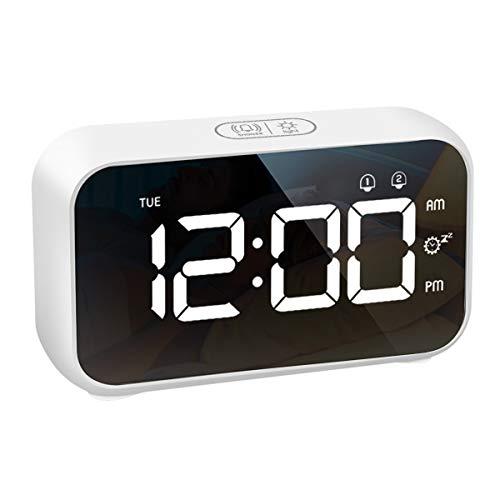 LATEC Väckarklockor, Digital Klocka Nattduksbord LED Display 40 Larmljud, Justerbar Larmvolym och Skärmljusstyrka, Snooze, Dubbla Larm, USB-Laddare, 12/24 H, Med Veckodvisning för Hemmakontor Resor(Vit)