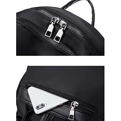 LIDIWEE Womens Backpack, College Bookbag PU Leather Waterproof Oxford Shoulder Bag with Headphone Hole School backpack Rucksack Work Daypack, Black