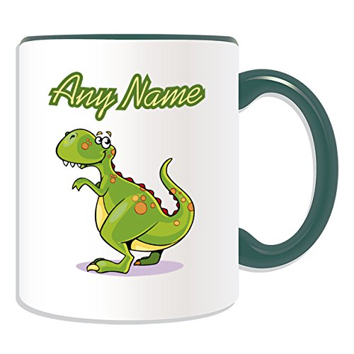 Occasions Direct-Tazza in ceramica, motivo: T. Rex, tema dinosauro, colori, con nome e messaggio on Your Unique-Tazza in porcellana, motivo: Tirannosauro, Ceramica, Verde