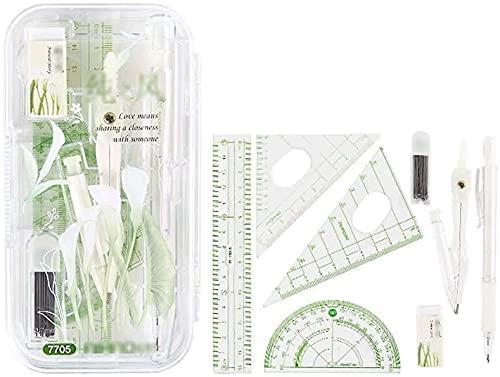 Math Geometry Kit Set Compass Geometry Set Student Examen Tekening Gereedschap Wiskunde Set, inclusief liniaal en…