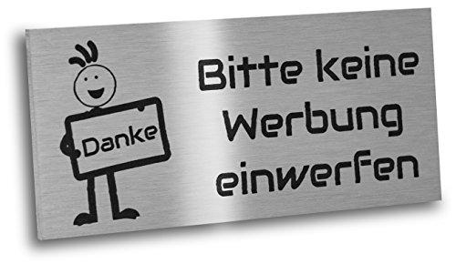 Briefkastenschild Bitte keine Werbung einwerfen aus V2a Edelstahl mit Motiv. Schild 80 x 35 mm