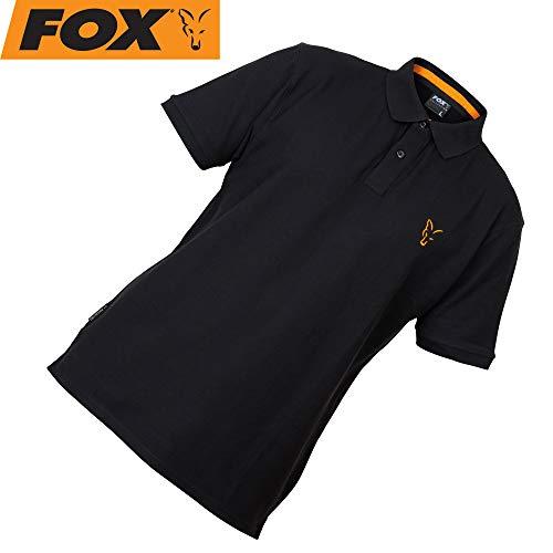 Fox Collection Black Orange Polo Shirt - Poloshirt für Angler, Angelshirt für Karpfenangler, T-Shirt, TShirt, Anglershirt, Shirt, Größe:L