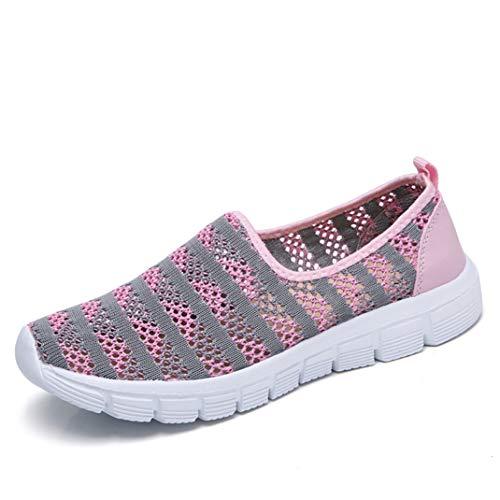 Frauen Breathable Mesh Sneakers Leichte Sportlauf-Wanderschuhe Casual Slip On Flat Loafers Joggen Fitness-Trainer