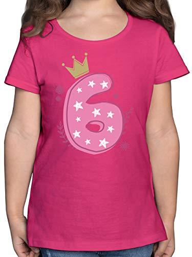 Geburtstag Kind - 6. Geburtstag Mädchen Krone Sterne - 116 (5/6 Jahre) - Fuchsia - Kinder t Shirt 6 Zahl - F131K - Mädchen Kinder T-Shirt