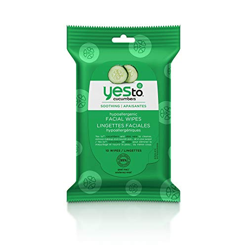 Yes To, Cucumbers Hypoallergenic Travel Sized Facial Wipes, Removes Makeup, 10 Wipes