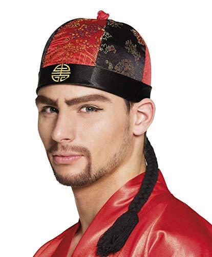 Boland 10130547 Hut Mandarin mit Haaren, schwarz/rot