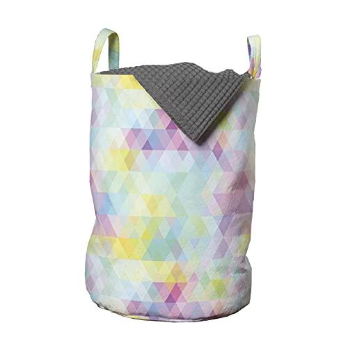 ABAKUHAUS Abstracto Bolsa de lavandería, Arte geométrico del rombo, Cesta con asas Cierre de cordón para las lavanderías, 33 x 33 x 49 cm, Multicolor