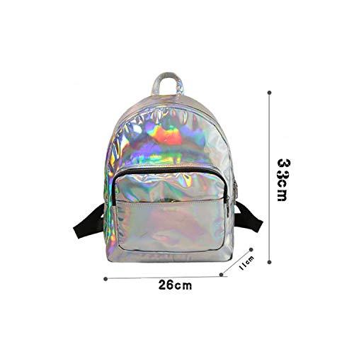 Vrouwen Rugzak Laser Daypacks Meisje School Tas Pu Lederen Holografische Tassen Grote Medium Kleine Grootte Eén maat Silver L
