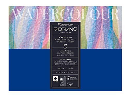 Unbekannt Fabriano 17312432 Bloc de Papier Aquarelle, Coton, Blanc, 24 x 32 x 0,5 cm