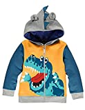 TEDD Boys Hoodies for Kids Jumper Cotton Top Dinosaur Crocodile Zipped Sweatshirt Jacket Long Sleeve T Shirt Casual Toddler, 01 Yellow, 2-3 Years