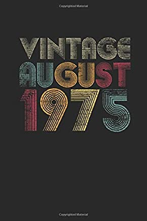 Vintage August 1975: Small Lined Notebook (6 X 9 -120 Pages) for Birthday Gift Idea