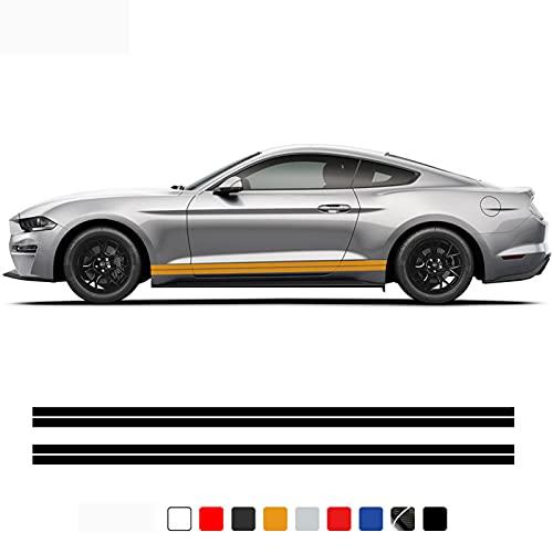 TIANAILU 2 uds,Pegatina deVinilopara Falda con Rayas Laterales para Puerta de Coche, para Ford Mustang 2015-presente GT V8, Accesorios Exteriores