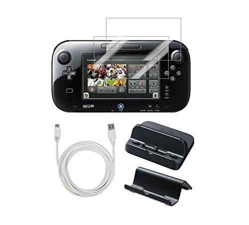 PEGLY Usb Charger Kit with Stand for Nintendo Wii U Gamepad 5-in-1 Bundle Gamepad With Cradle, Charger Screen Protector and Usb Charger 10 ft