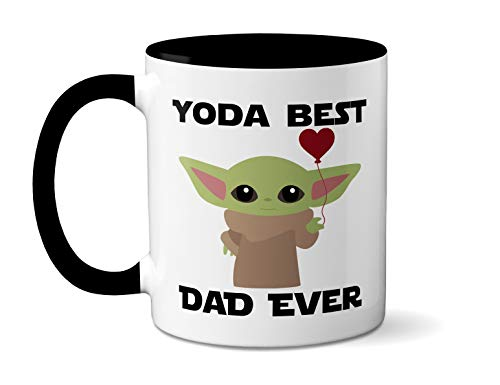 Yoda Best Dad Ever - Baby Yoda - Father's Day Gift - Mandalorian Mug, Starwars Mug, Novelty Mug, Gift idea for Star Wars Fan - 11oz. - White Ceramic (Black Handle)