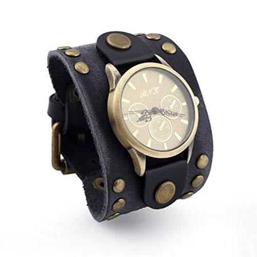 Reloj de Pulsera Retro, Ancho, de Cuero Real, para muñeca, con Hebilla, Reloj analógico de Cuarzo para Hombre Mujer (Negro, marrón, marrón Oscuro) Black - Leather Bracelet Watch