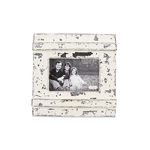 """Mud Pie Distressed White Chipped Wood 4"""" x 6"""" Picture Frame"""