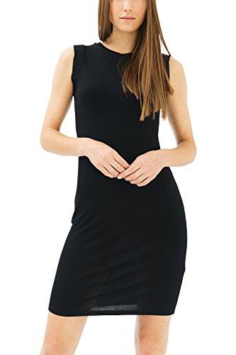 trueprodigy Casual Damen Marken Kleid einfarbig Basic Etuikleid Cool Stylisch sexy Ärmellos Slim Fit Cocktailkleid für Frauen, Farben:Schwarz, Größe:XL