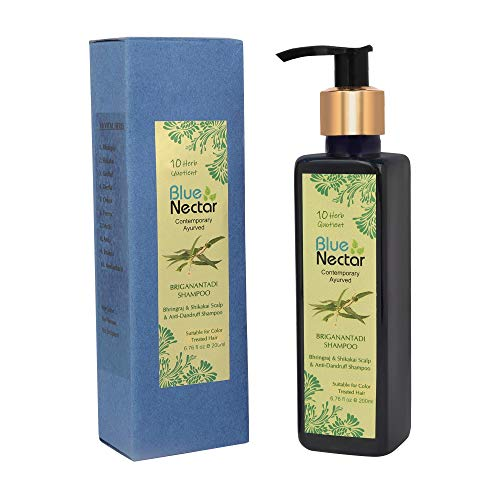 Blue Nectar Anti Dandruff and Healthy Scalp Hair Cleanser Shampoo with Bhringraj, Shikakai, Suitable for Colored Hair, Dry Frizzy Hair (200 ml)