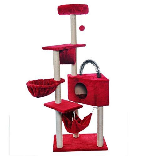 TIANPIN meerlaagse krabpaalwoning met jeukende palen van sisals, huis, hangmat, kattentormmöbelkitchenentrumkitchenspeelhuisje