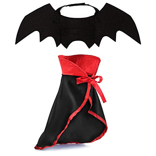 LKEX Halloween Small Dog Costume, Pet Bat Wings & Vampire Cloak, 2 Pack, Cats & Dogs Funny Holiday Clothes for Bloody Zombie Cosplay Party