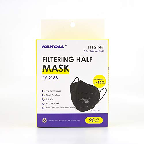 KEHOLL FFP2 Maske SCHWARZ 20-er Pack 20x Atemschutzmaske, Maske ≥95% EU CE zertifiziert 2163 einzelverpackt im PE-Beutel