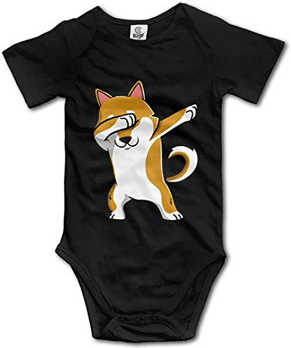 WlQshop Mono para Bebé,Mameluco Bebé Unisex Shiba Inu Dabbing Newborn Baby Boys Clothing Short Sleeve Infant Cotton Bodiess