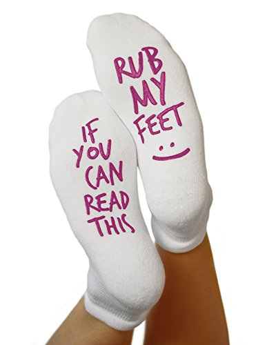"Kindred Bravely Labor and Delivery Inspirational Fun Non Skid Push Socks for Maternity -""Rub My Feet"""
