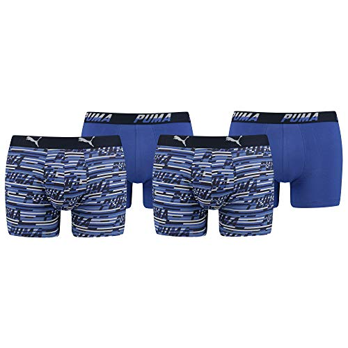 PUMA Herren Boxershorts, 4 Sück Boxers, Logo AOP Boxer (M, Blue Combo)