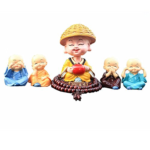 TATEELY 5 Pcs Cute Monks Car Interior Display Decoration Dashboard Ornament Figurine Buddha Home Decor Gift