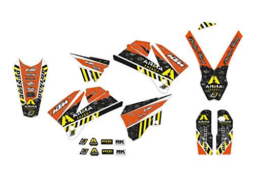 Kit adesivi grafiche K.t.m. Exc Sx Excf Sxf 125 200 250 300 400 450 525 2005 2006 2007 set stickers in Crystall Arma Energy plastiche e parafanghi